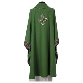 Chasuble 100% polyester inserts tissu croix brodée s5