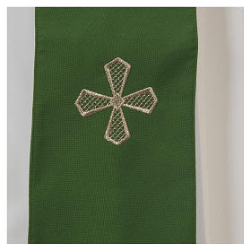 Chasuble 100% polyester inserts tissu croix brodée s7