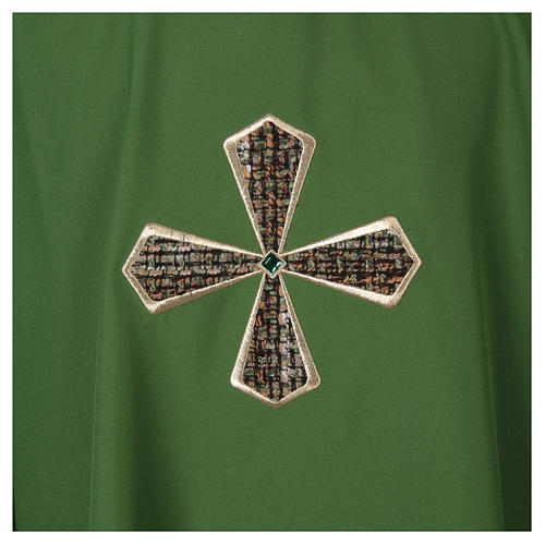 Chasuble 100% polyester inserts tissu croix brodée 2