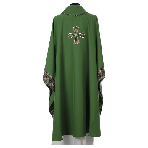 Chasuble 100% polyester inserts tissu croix brodée 5