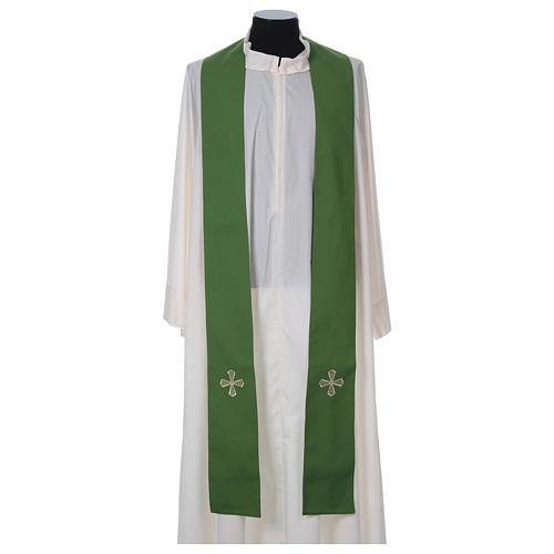 Chasuble 100% polyester inserts tissu croix brodée 6