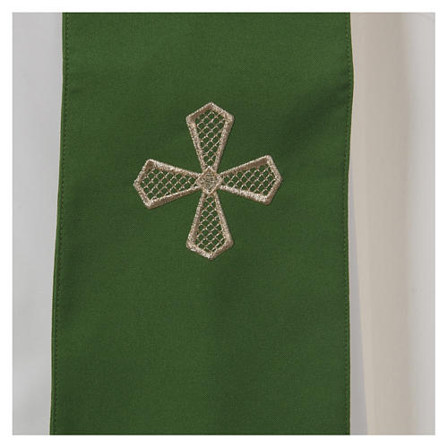 Chasuble 100% polyester inserts tissu croix brodée 7