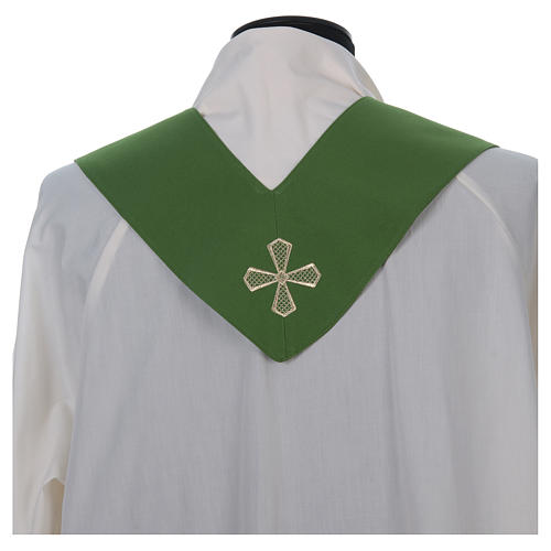 Chasuble 100% polyester inserts tissu croix brodée 8