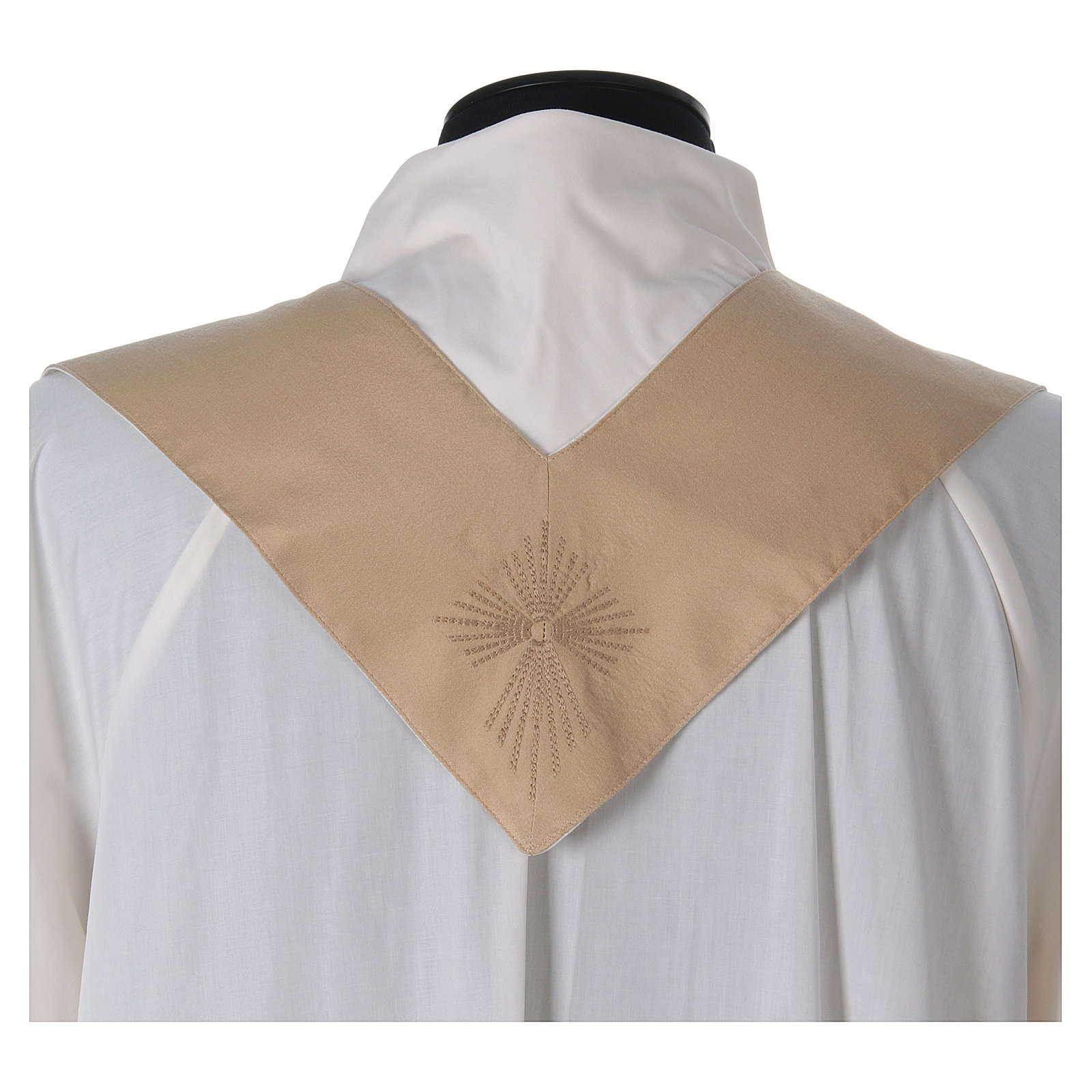 STOCK Liturgical Wool Chasuble in blended color with embroided Cross 4