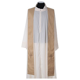 STOCK Liturgical Wool Chasuble in blended color with embroided Cross s4
