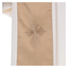 STOCK Liturgical Wool Chasuble in blended color with embroided Cross s5