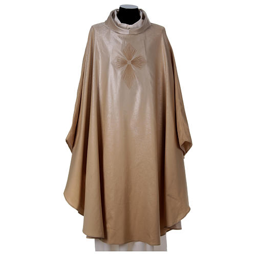 STOCK Liturgical Wool Chasuble in blended color with embroided Cross 1