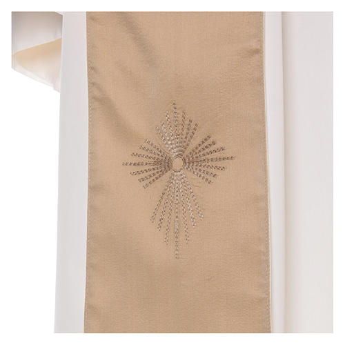 STOCK Liturgical Wool Chasuble in blended color with embroided Cross 5