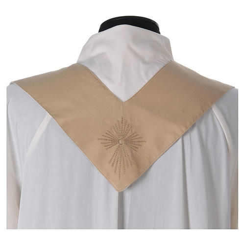 STOCK Liturgical Wool Chasuble in blended color with embroided Cross 6