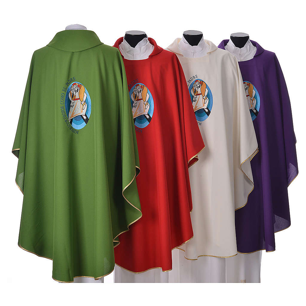 STOCK Chasuble Jubilé Miséricorde inscription ESPAGNOL polyester brodé machine 4