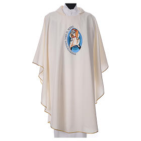STOCK Chasuble Jubilé Miséricorde inscription ESPAGNOL polyester brodé machine s4
