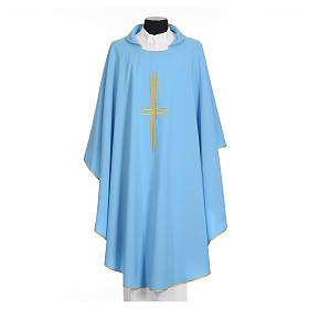 Light blue chasuble in 100% polyester with golden cross s5