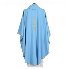 Light blue chasuble in 100% polyester with golden cross s6