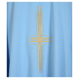 Light blue chasuble in 100% polyester with golden cross s7