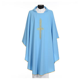 Light blue chasuble in 100% polyester with golden cross s1