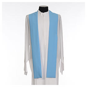 Light blue chasuble in 100% polyester with golden cross s4