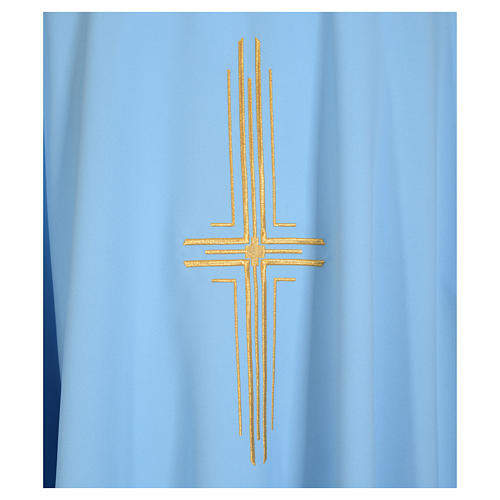 Light blue chasuble in 100% polyester with golden cross 7