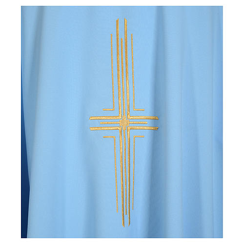 Light blue chasuble in 100% polyester with golden cross 3
