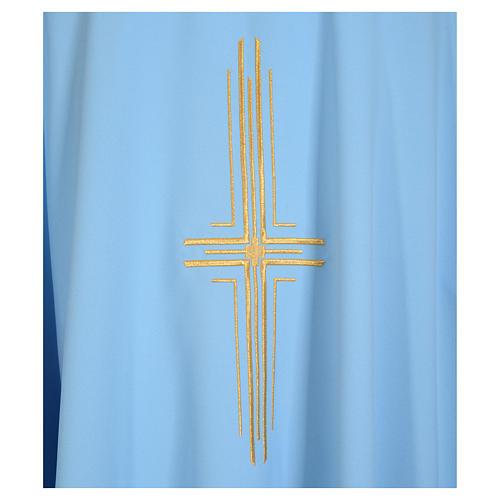Chasuble bleu clair 100% polyester croix dorée 7