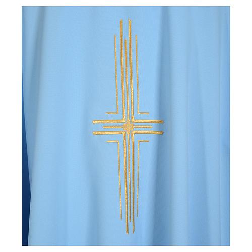 Chasuble bleu clair 100% polyester croix dorée 3