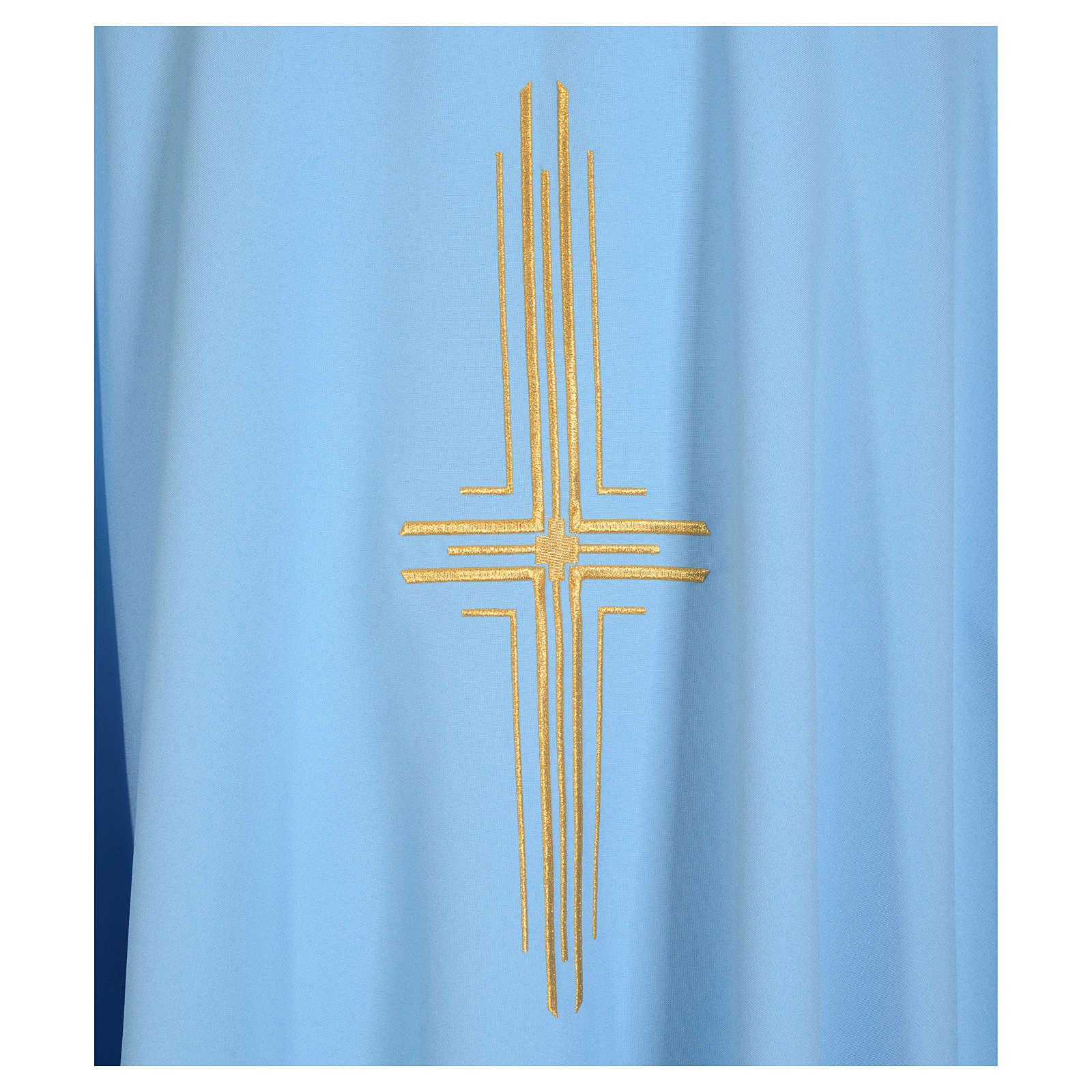 Ornat błękitny 100% poliester krzyż pozłacany 4