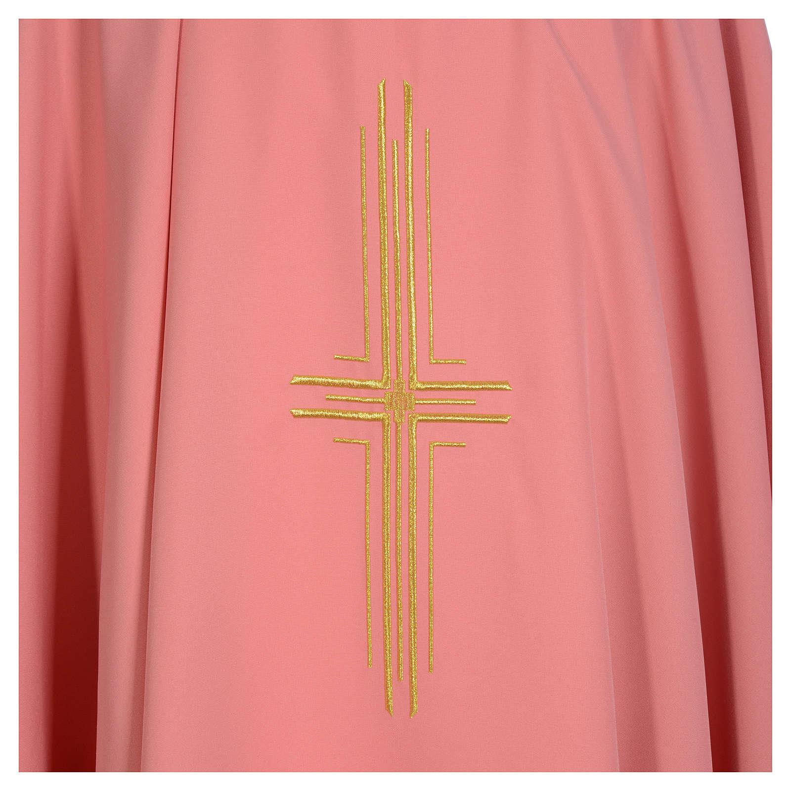 Casula rosa 100% poliestere croce dorata 4