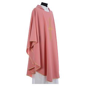 Casula rosa 100% poliestere croce dorata s6