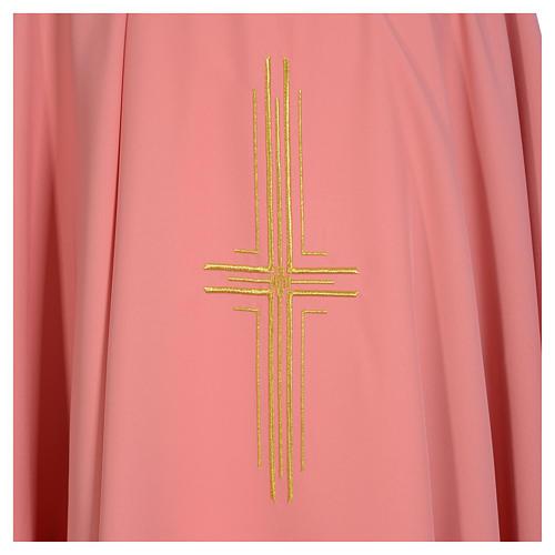 Casula rosa 100% poliestere croce dorata 3