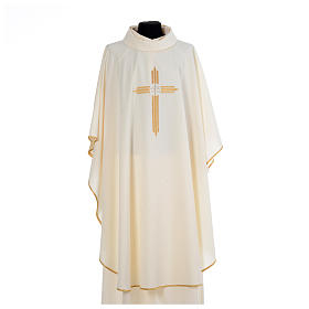 Chasuble gold cross embroidery 100% polyester s5