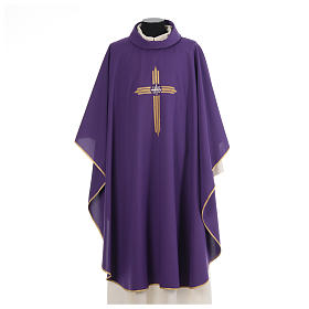 Chasuble gold cross embroidery 100% polyester s6
