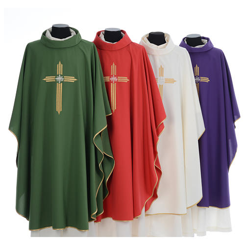 Chasuble gold cross embroidery 100% polyester 1
