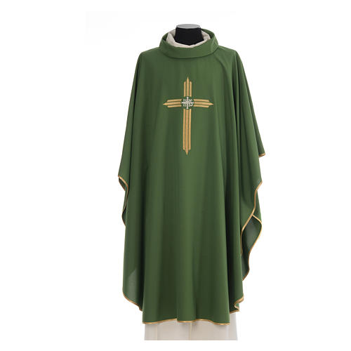 Chasuble gold cross embroidery 100% polyester 3