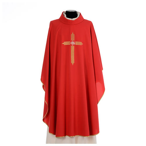 Chasuble gold cross embroidery 100% polyester 4
