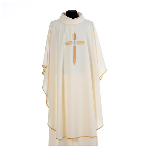 Chasuble gold cross embroidery 100% polyester 5