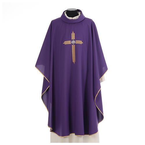 Chasuble croix dorée 100% polyester 6