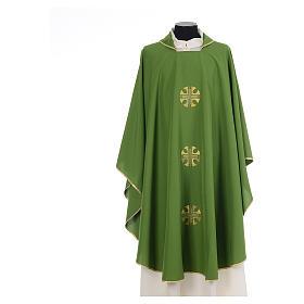 Chasuble crêpe polyester trois croix bords dorés s3