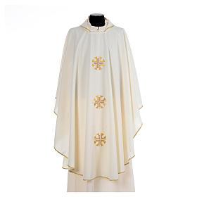 Chasuble crêpe polyester trois croix bords dorés s5