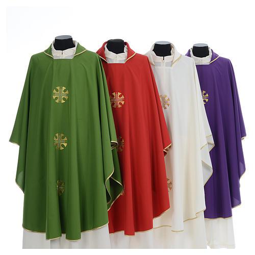 Chasuble crêpe polyester trois croix bords dorés 1
