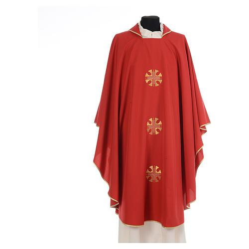 Chasuble crêpe polyester trois croix bords dorés 4