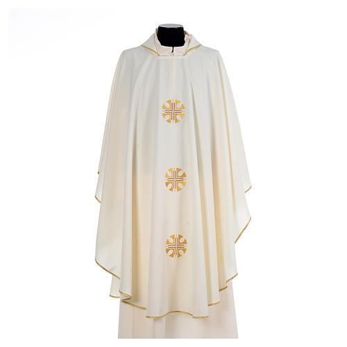 Chasuble crêpe polyester trois croix bords dorés 5