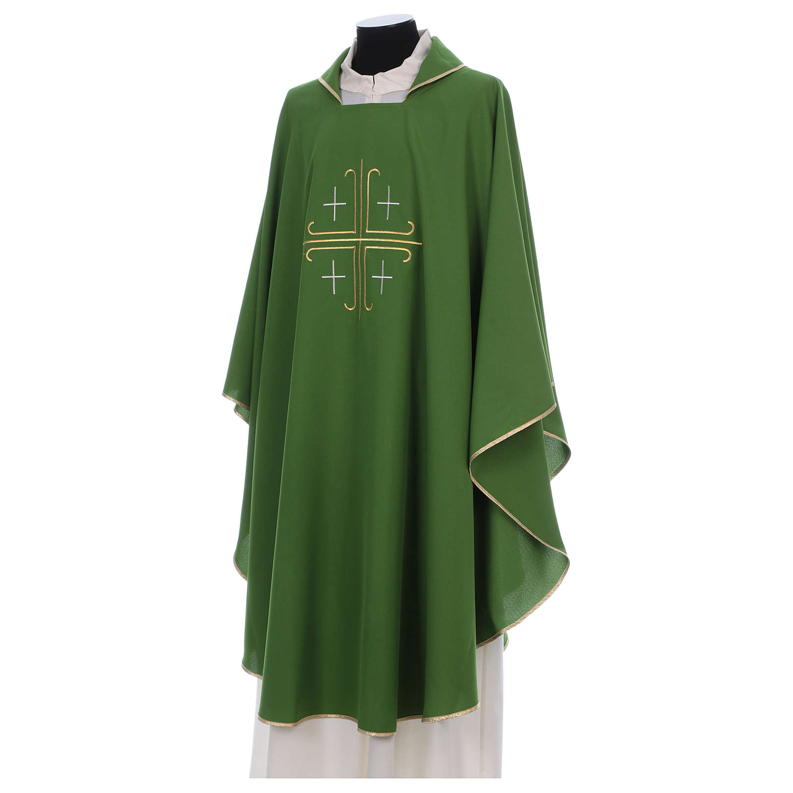 Catholic Chasuble in polyester crepe with central cross and four crosses 4