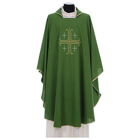 Catholic Chasuble in polyester crepe with central cross and four crosses s1