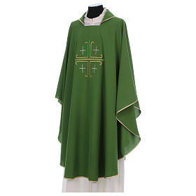 Catholic Chasuble in polyester crepe with central cross and four crosses s2
