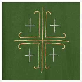 Catholic Chasuble in polyester crepe with central cross and four crosses s4