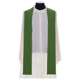 Catholic Chasuble in polyester crepe with central cross and four crosses s5