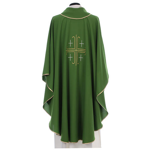 Catholic Chasuble in polyester crepe with central cross and four crosses 3