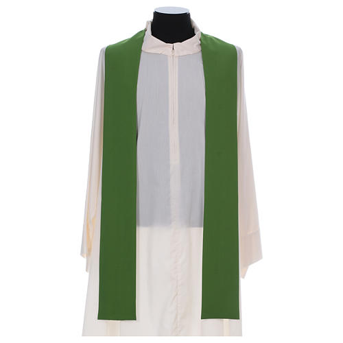Catholic Chasuble in polyester crepe with central cross and four crosses 5