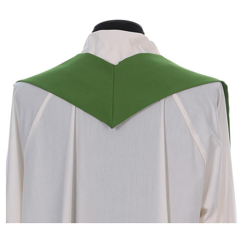Catholic Chasuble in polyester crepe with central cross and four crosses 6