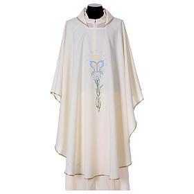 Chasuble avec lis étoiles initiales Sainte Vierge s1