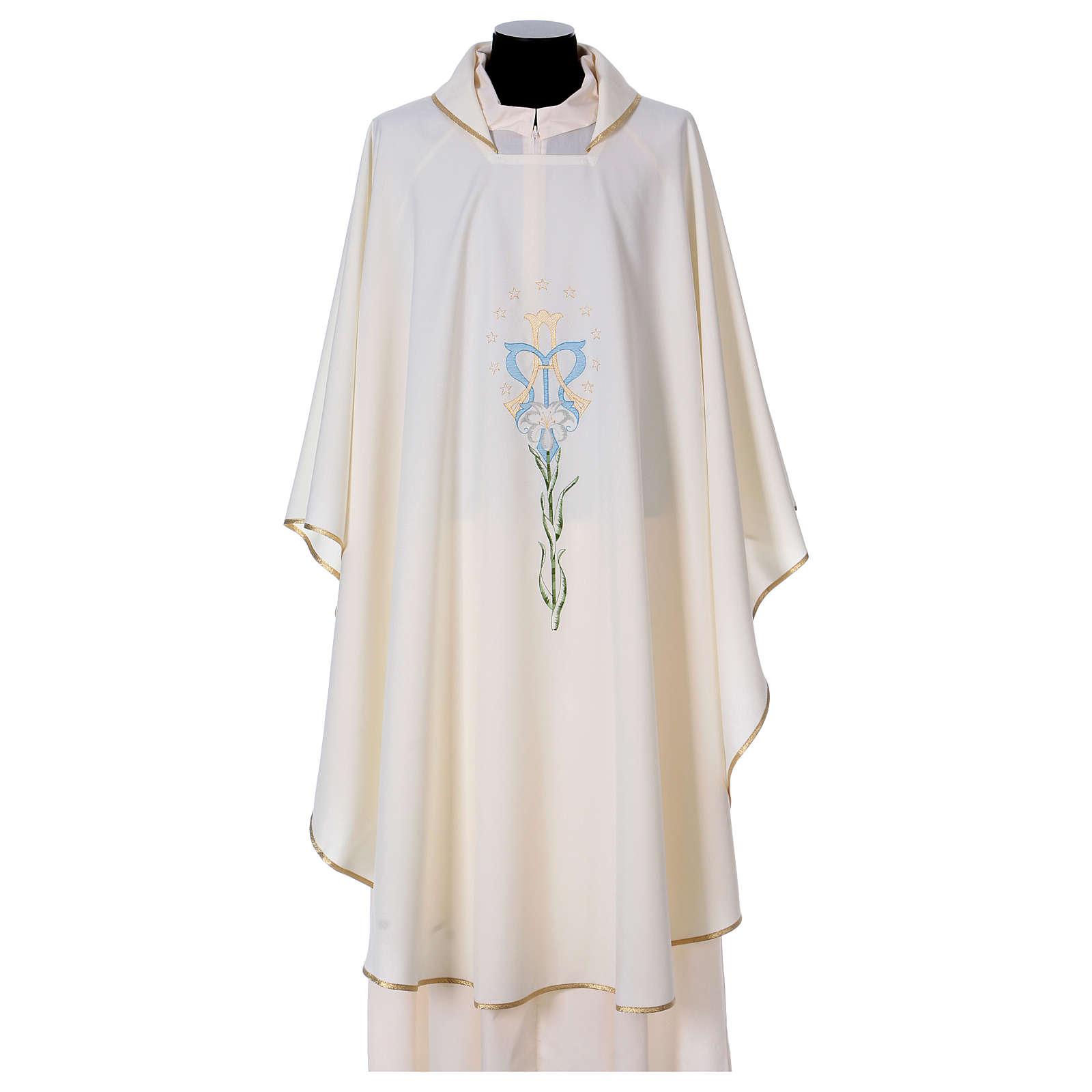 Casula com lírio estrelas iniciais Santíssimo Nome de Maria 4
